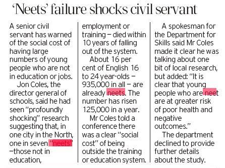 'Neets' failure shocks civil servant
